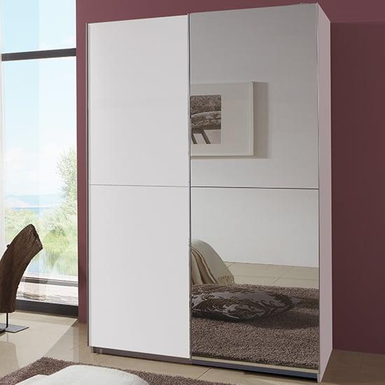 View Carra sliding door wooden wardrobe in white with 1 mirror