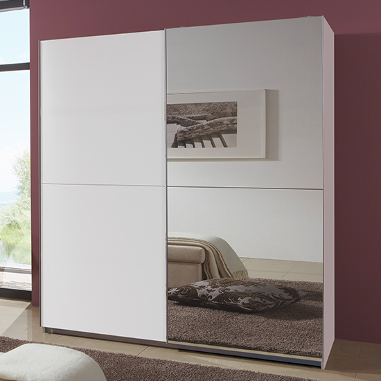Carra Sliding Door Wooden Wide Wardrobe In White With 1 Mirror