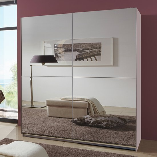 Carra Sliding Door Wooden Wide Wardrobe In White With 2 Mirrors