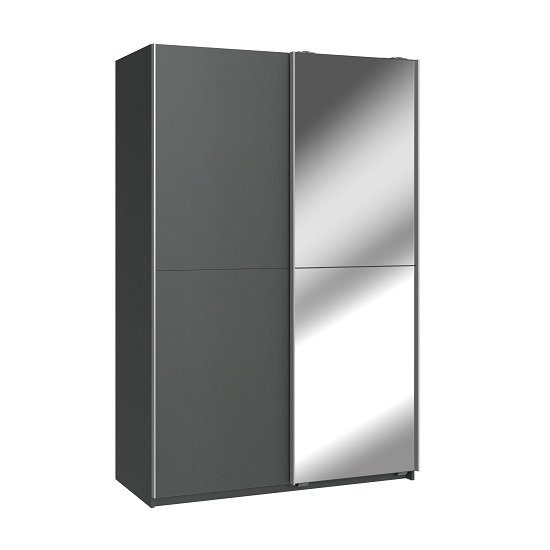Carra Mirrored Sliding Wardrobe In Graphite With 2 Doors