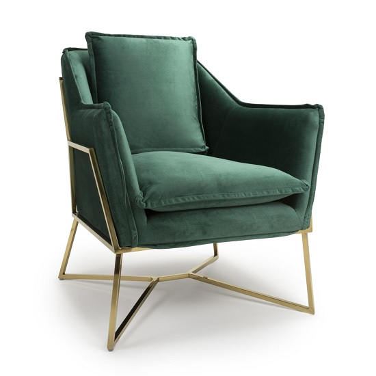 Carrello Arm Chair In Brushed Velvet Green With Gold Frame