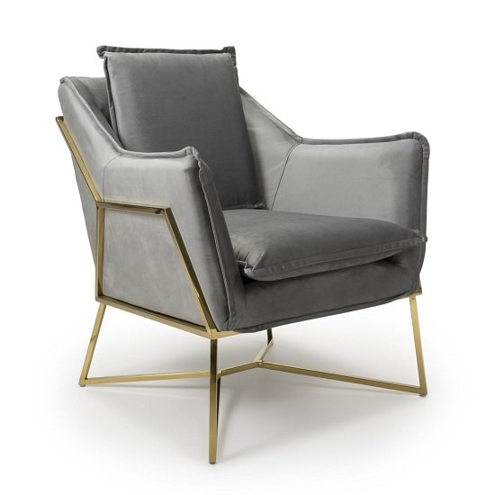 Carrello Arm Chair In Brushed Velvet Grey With Gold Frame