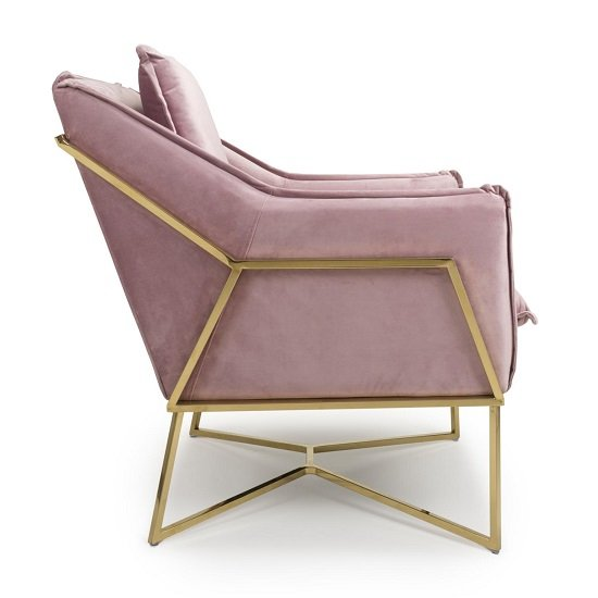 Carrello Arm Chair In Brushed Velvet Pink Blush With Gold Frame_3