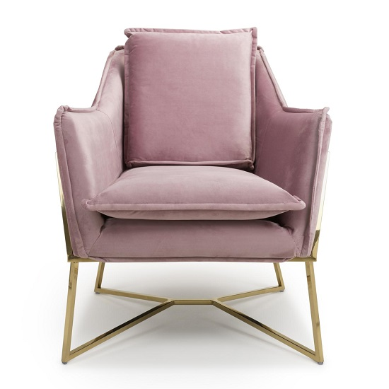 Carrello Arm Chair In Brushed Velvet Pink Blush With Gold Frame_4