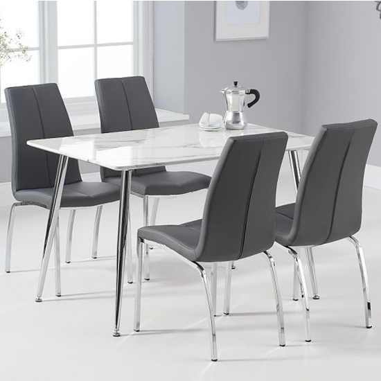 Carrera White And Grey Marble Dining Set And 4 Grey Naos Chairs