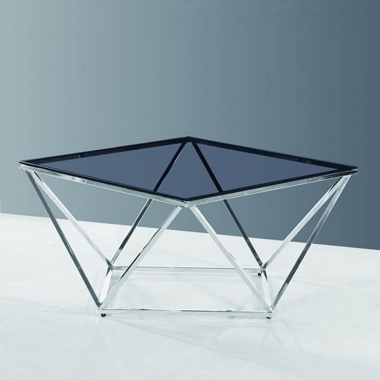 Carsen Glass Coffee Table In Smoke With Polished Steel Frame