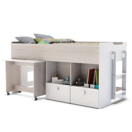 Carson Mid Sleeper Bed In Acacia And Pearl White