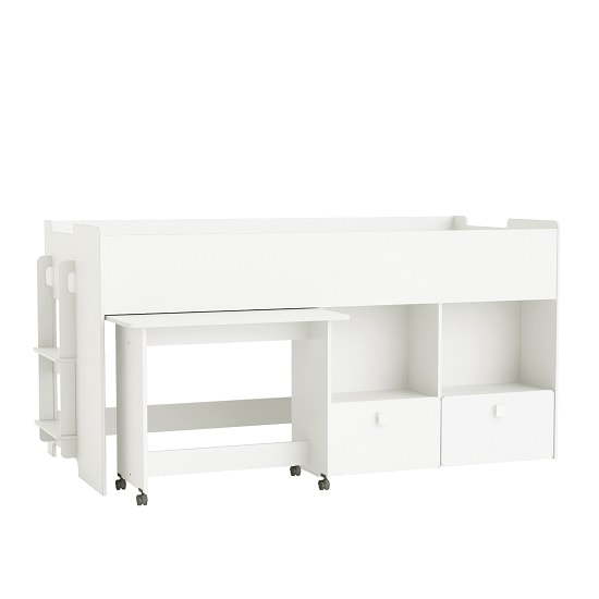 Carson Wooden Mid Sleeper Bed In Pearl White