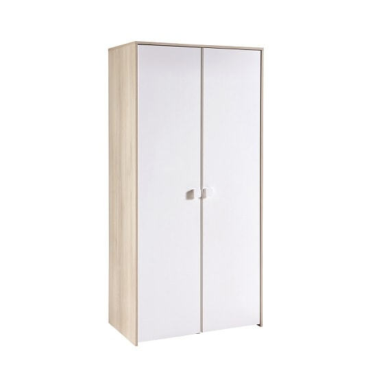 Carson Childrens Wardrobe In Acacia And Pearl White With 2 Doors