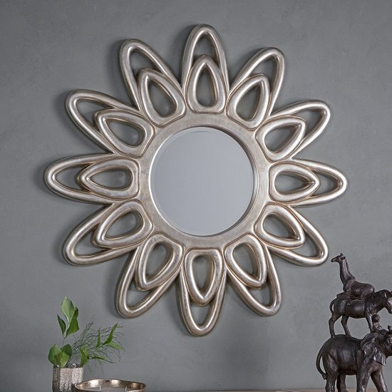 Carswell Contemporary Wall Mirror In Champagne Silver