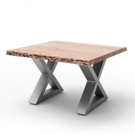 Cartagena Coffee Table In Natural With Brushed Steel X Legs