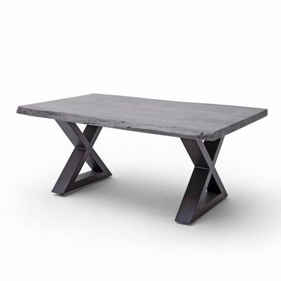 Cartagena Large Coffee Table In Grey With Anthracite X Legs