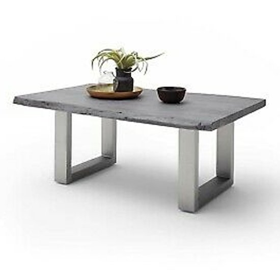 Cartagena Large Coffee Table In Grey With Brushed Steel Legs