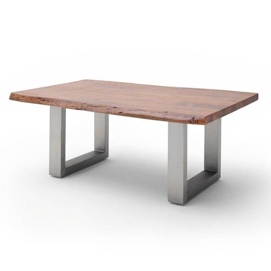 Cartagena Large Coffee Table In Walnut With Brushed Steel Legs
