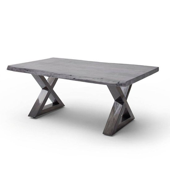 Cartagena Large X-Shape Coffee Table In Grey With Antique Legs