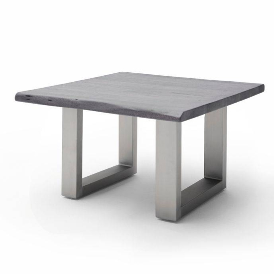 Cartagena Wooden Coffee Table In Grey With Brushed Steel Legs