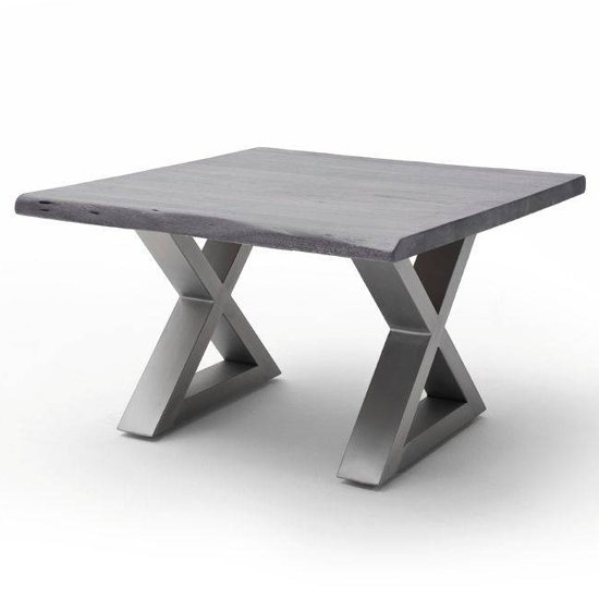 Cartagena X-Shape Coffee Table In Grey With Brushed Steel Legs
