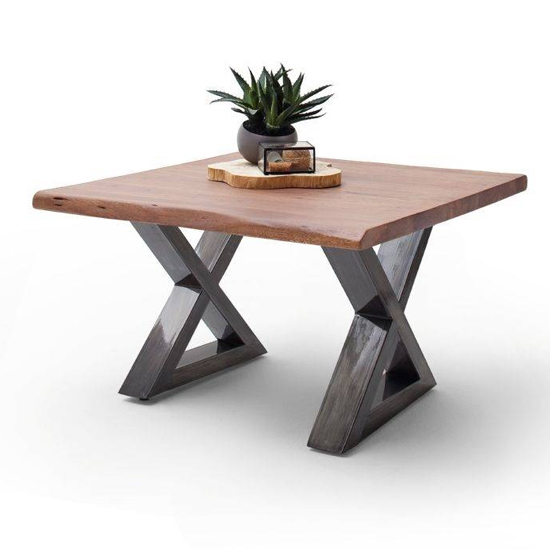 Cartagena X-Shape Coffee Table In Walnut With Antique Legs
