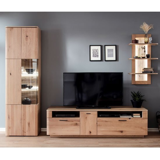Cartago LED Living Room Set In Planked Oak With Display Cabinet