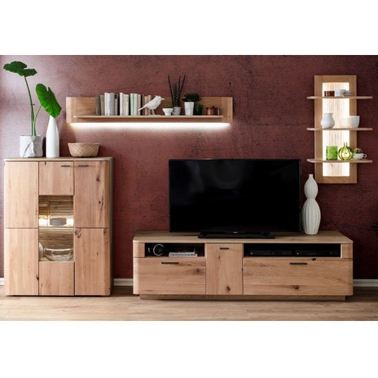View Cartago led living room set in planked oak with highboard