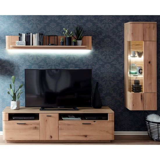 Cartago LED Living Room Set In Planked Oak With Storage Cabinet