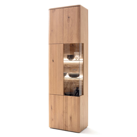 Cartago LED Wooden Display Cabinet In Planked Oak With 1 Door