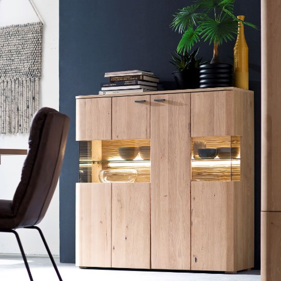 View Cartago led wooden large highboard in planked oak with 2 doors