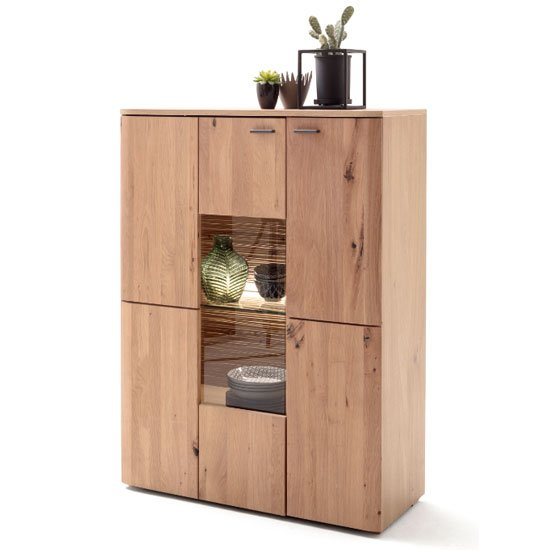 View Cartago led wooden small highboard in planked oak with 2 doors