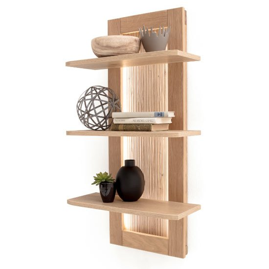 Cartago LED Wooden Wall Shelving Unit In Planked Oak