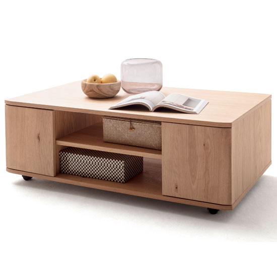 Cartago Wooden Coffee Table In Planked Oak