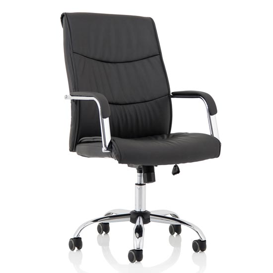 Carter Leather Luxury Office Chair In Black With Arms