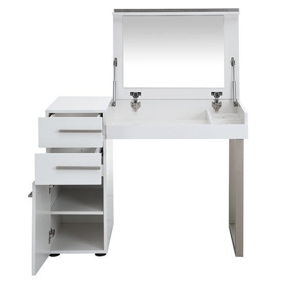 Carter High Gloss Dressing Table With, White Dressing Table With Fold Down Mirror