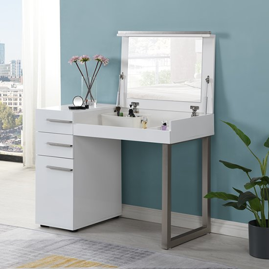 View Carter high gloss dressing table with mirror in white