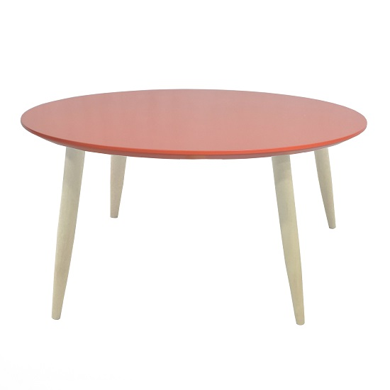 Carter Wooden Side Table Round In Coral