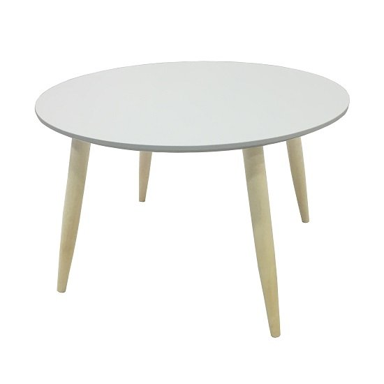 Carter Wooden Side Table Round In White