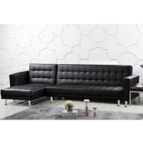 Carter Multifunctional Sofa Bed In Black Faux Leather And PVC