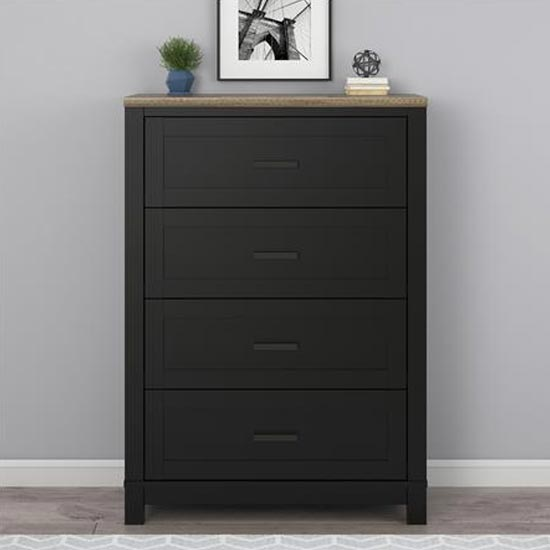 Carver Chest Of Drawers In Black And Weathered Oak With 4 Drawer
