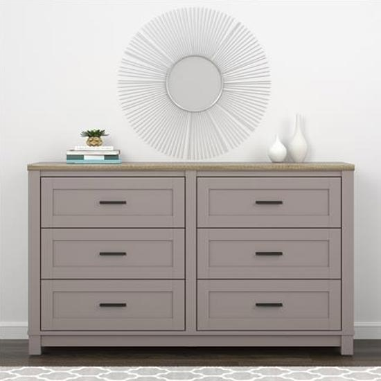 Carver Chest Of Drawers In Grey And Weathered Oak With 6 Drawer