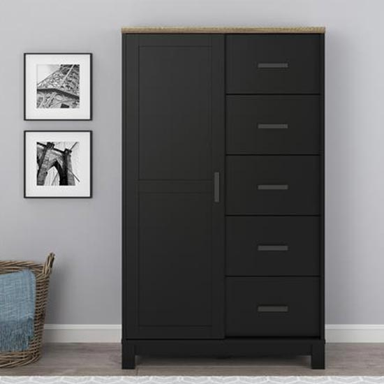 Carver Gentlemans Chest Of Drawers In Black And Weathered Oak