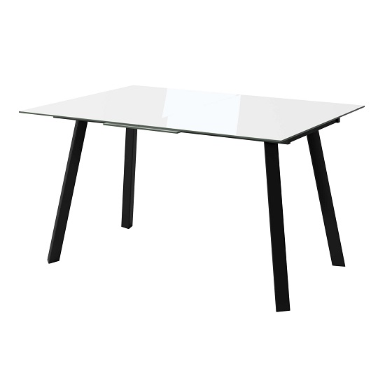 Carver Glass Extending Dining Table In White With Steel Legs