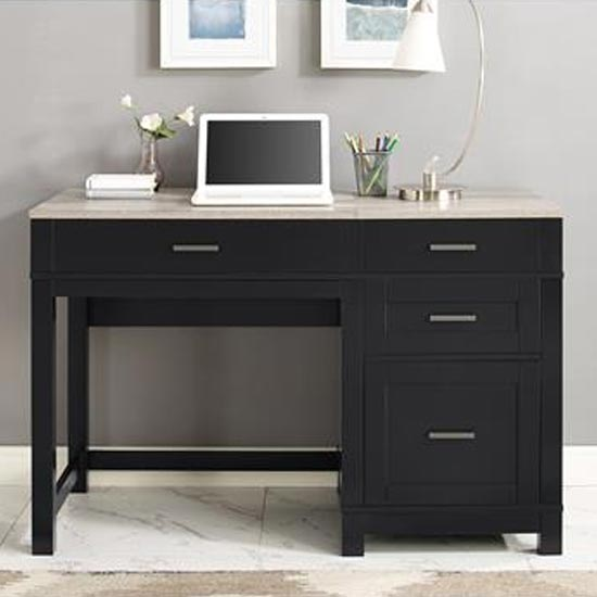 View Carver lift top laptop desk in black and weathered oak