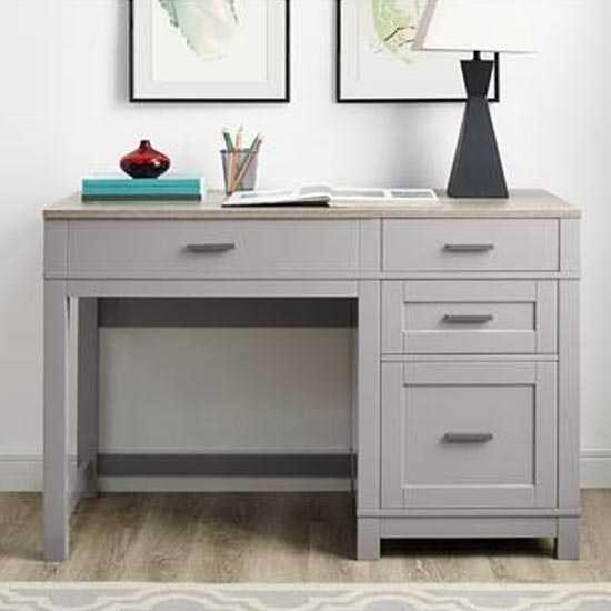 Carver Lift Top Laptop Desk In Grey And Weathered Oak