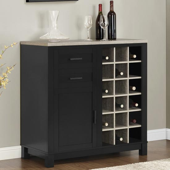 Carver Wooden Bar Cabinet In Black And Weathered Oak