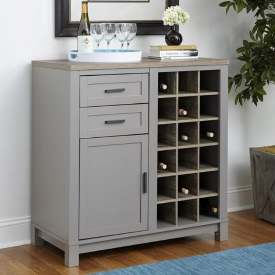 Carver Wooden Bar Cabinet In Grey And Weathered Oak