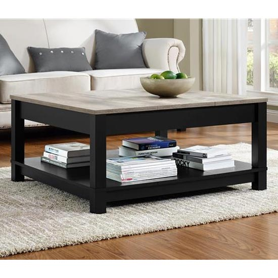 Carver Wooden Coffee Table In Black And Weathered Oak