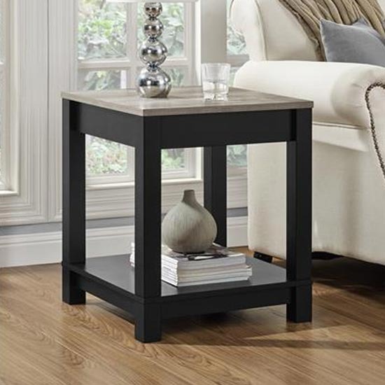 Carver Wooden End Table In Black And Weathered Oak