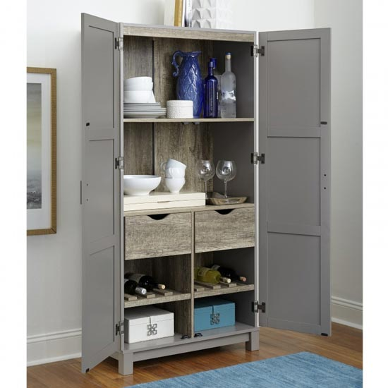 Carver Wooden Storage Cabinet In Grey And Weathered Oak_2