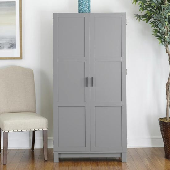 Carver Wooden Storage Cabinet In Grey And Weathered Oak
