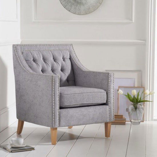Casa Bella Fabric Armchair In Grey With Wooden Legs_1
