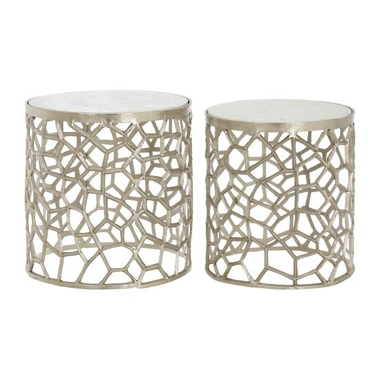 Casa Marble Top Set Of 2 Side Tables In Nickel